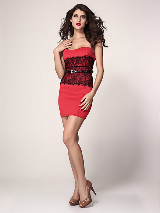 High-waisted Lace Appliques Strapless Eyelash Waist Cincher Bodycon Mini Dresses