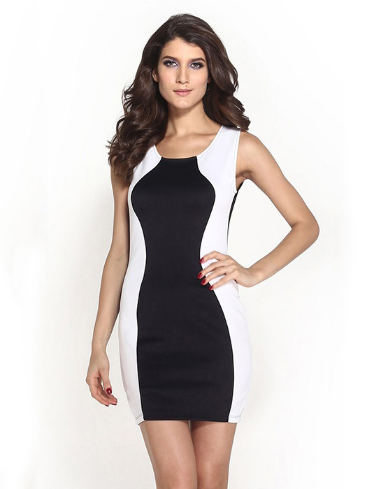 High Waisted Patched Sides Black White Splice Sleeveless -6771
