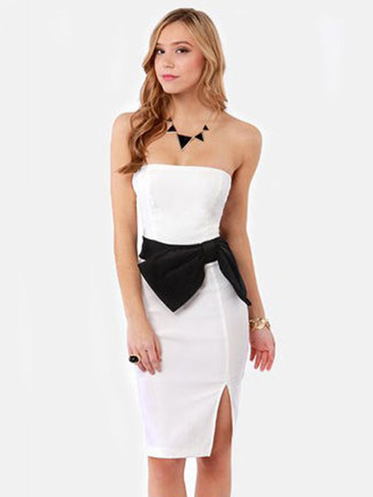 High Waisted Sleeveless Bow Appliques Stunning Side Up Strapless Summer Midi Dresses