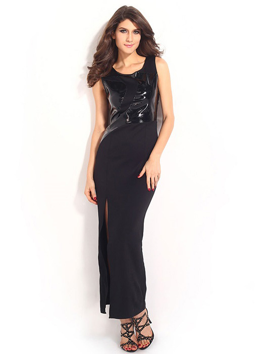 Sleeveless High Slit Leather Spliced Round Neckline High-waisted Black Maxi Dresses For Sale