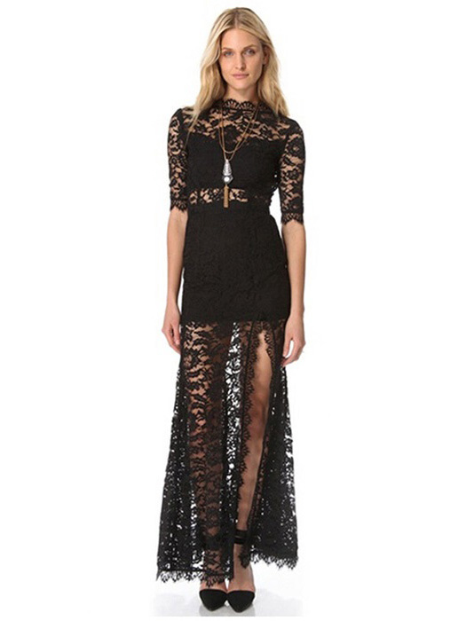 Black Half Sleeved High Waist Plunging Back High-cut Slit Lined Lace Boutique Maxi Dresses