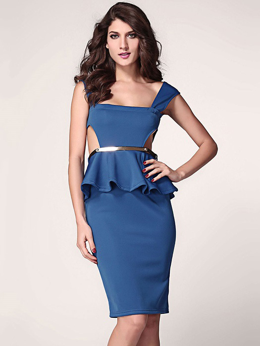 Low Cut Neck High Waisted Sleeveless Cut Out Sides Pleated Gold Waist Midi Ruffles Peplum Dresses