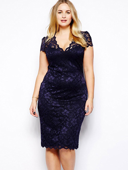 High-waist Scalloped V-neck Short Sleeve Fully Lined Hollow Out Midi Plus Size Lace Dresses
