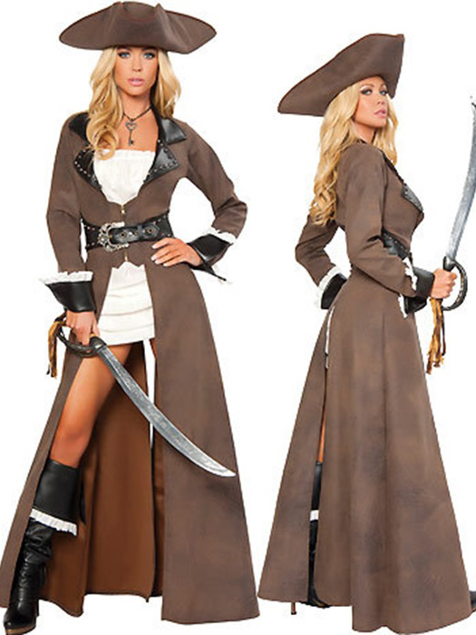 Vilanya Long Sleeve 4 Pieces Deluxe Womens Pirate Halloween Costume