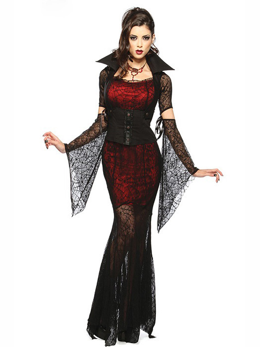 Vilanya Female 4 Pieces Long Sleeve Vixen Vampire Cheap Scary Halloween Costume