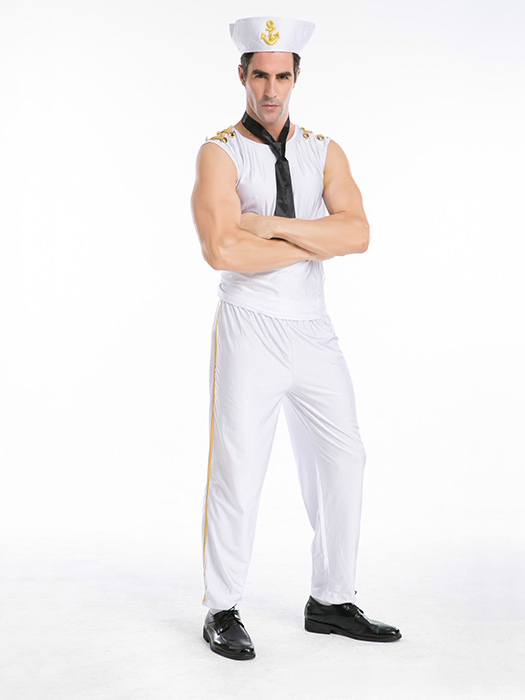 Vilanya White 4 Pieces Sailor Simple Halloween Costumes For Men New Arrival