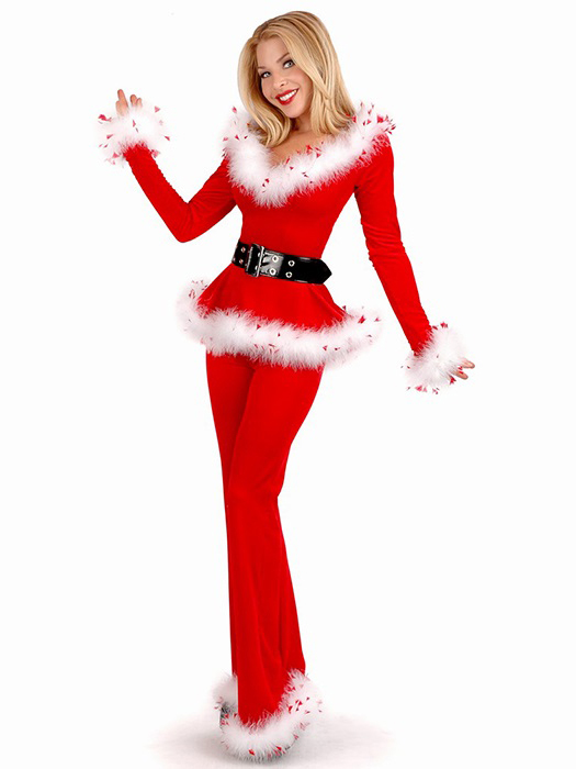 Vilanya Three Pieces Off Shoulder Long Sleeve Punk Santa Outfits for Women