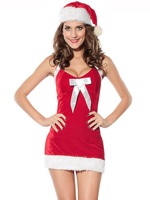 Cheap Vilanya 2 Pieces Sleeveless Fluff V-neck Halter Santa Dress for Girls on Sale