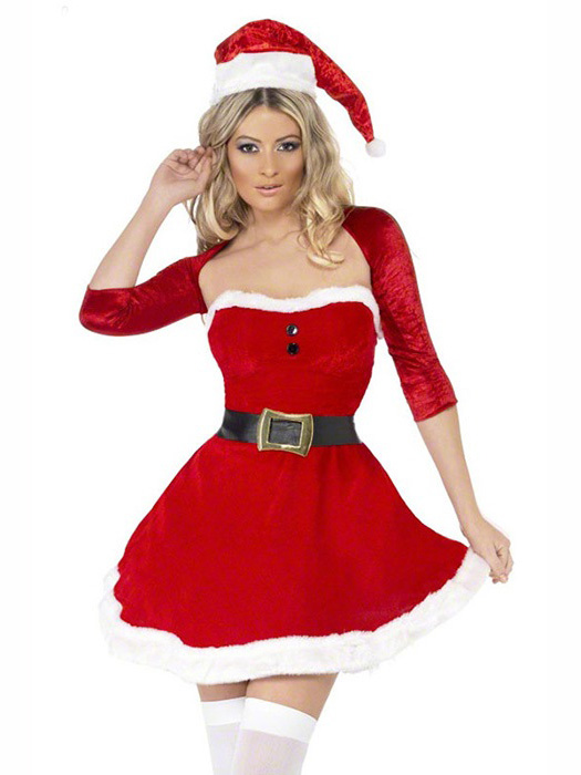 Vilanya Three Pieces Fluff Strapless Ruched Mini Dress Christmas Clothes for Women