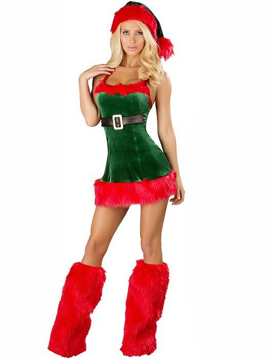 Three Pieces Sleeveless Fluff Hollow Out Halter Women Christmas Dress Up