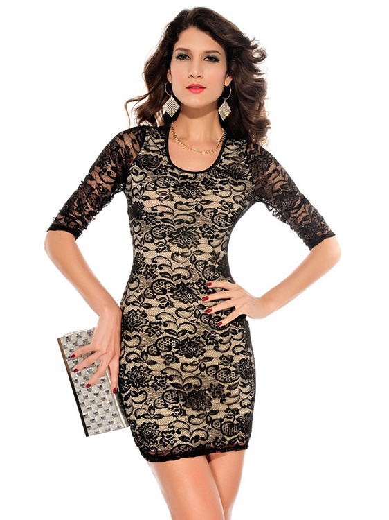 Embroidery Vintage Round Neckline Half Sleeved Lace Overlay Fitted Mini Bodycon Dress Australia