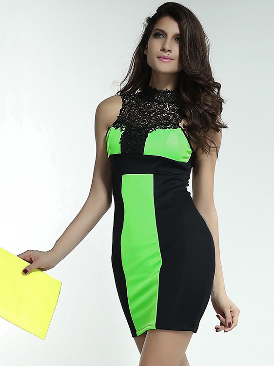 Patchwork Sleeveless Scoop High Neck Hollow Out Back Lace Spliced Mini Dresses Bodycon