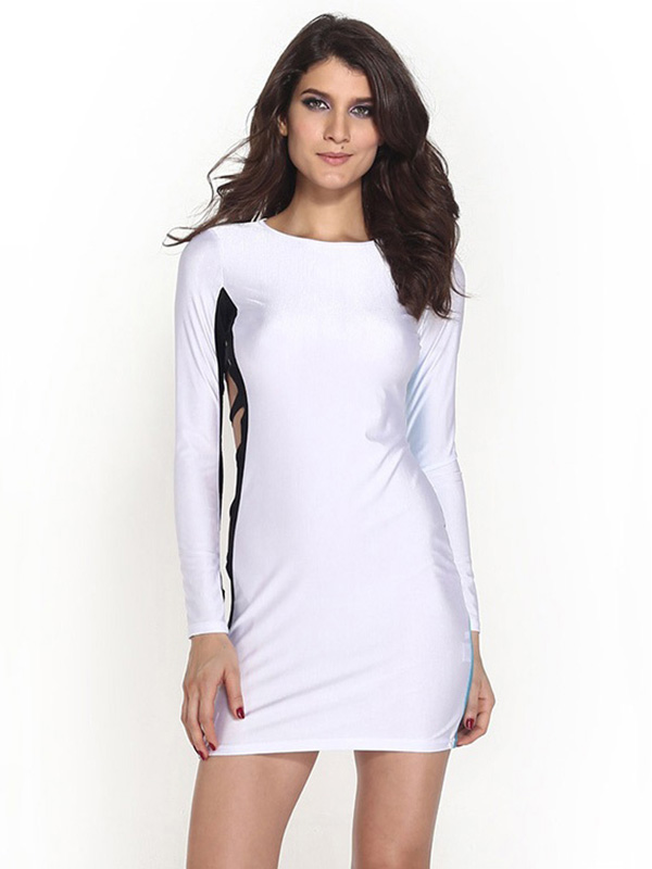 Hollow Out High-waist Contrast Color Sided Slits Mini Long Sleeved Mini Bodycon Dress