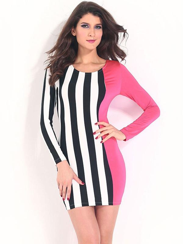 Cheap Contrast Color Round Neckline Long Sleeve High Waist Striped Bodycon Dress Mini