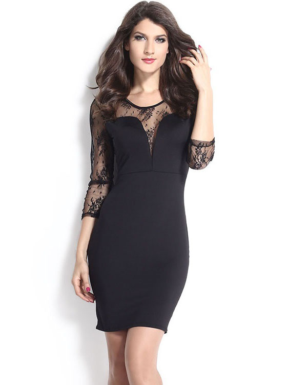 Sexy Mesh Insert Floral Sheer Long Sleeve Black Celebrity Midi Bodycon Party Dresses Sale
