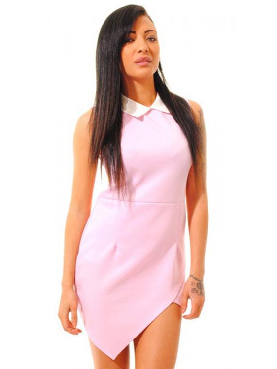 Fashionable Contrasting Collared Asymmetrical Hem Sleeveless Mini Bodycon Dresses Online