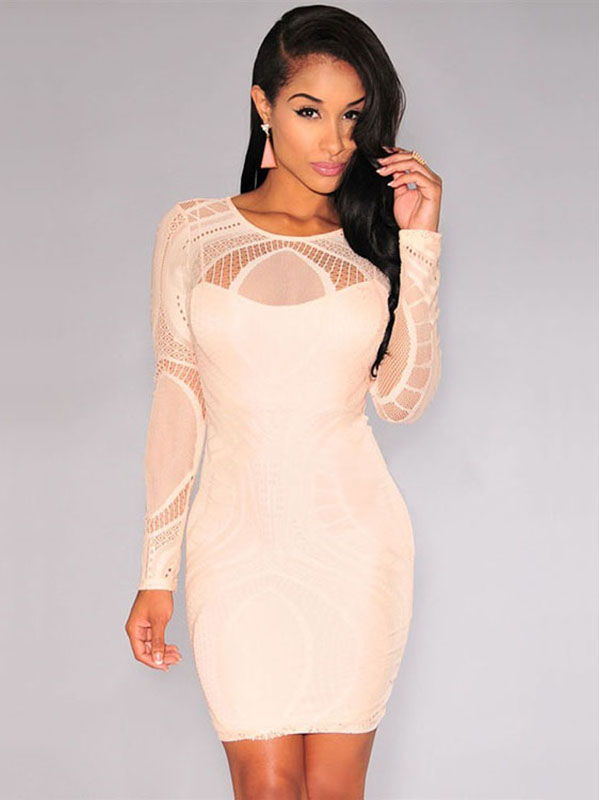 Sexy High Waist Nude Illusion Long Sleeved Lace Hollow Out Bodycon Mini Dress Apricot