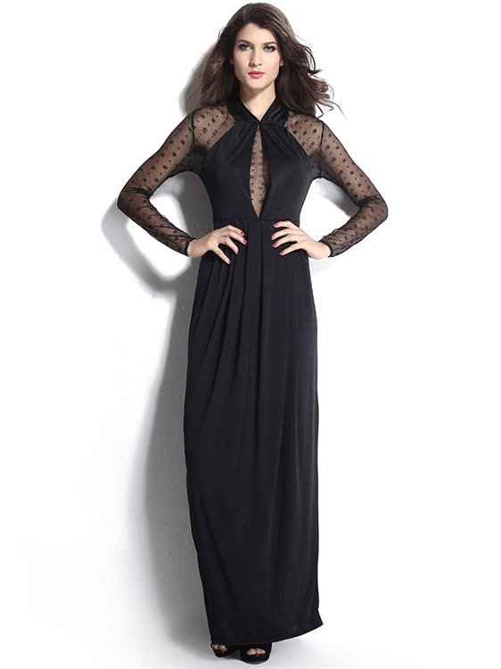 Empire Draped Long Mesh Sleeved Maxi Dress Black Sale