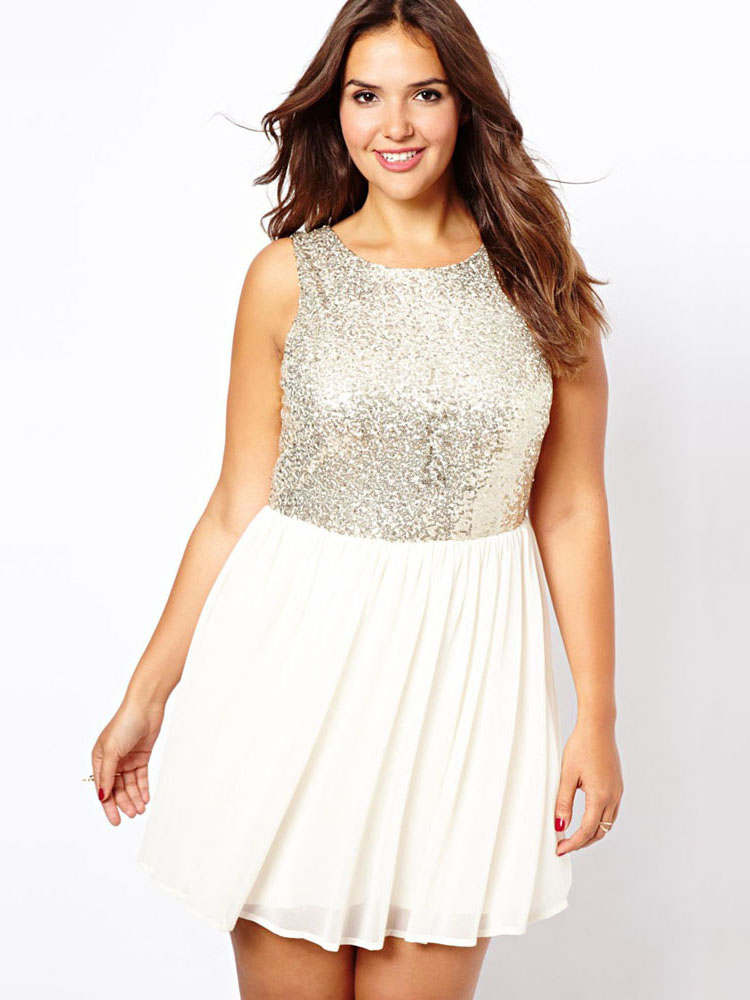Inspire High Waisted Pleated Sequin Chiffon Sleeveless Mini Dresses