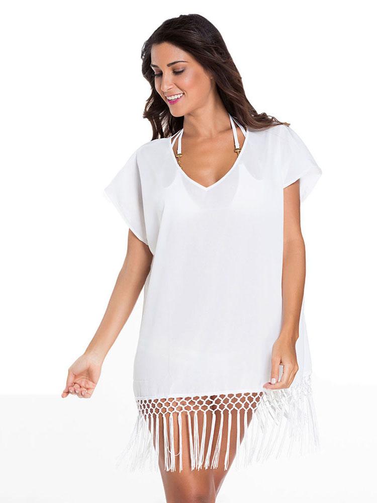 Kimono Style Short Sleeves Kaftan Beach Wear with Crochet Fringe Hemline Sale
