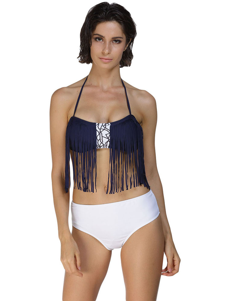 Mix and Match Bikini with Bandeau Navy Tassel Halter Top & Solid White Bottom