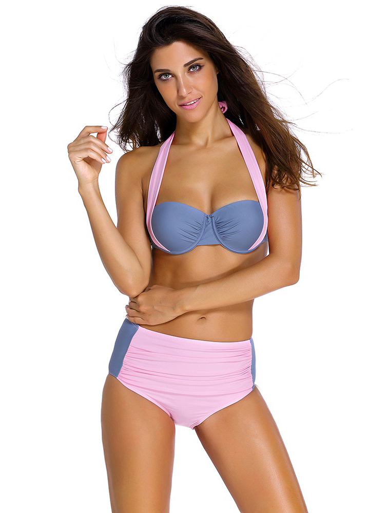 Stylish Color Block Bikini with Underwire & Padded Top and Ruched Bottom