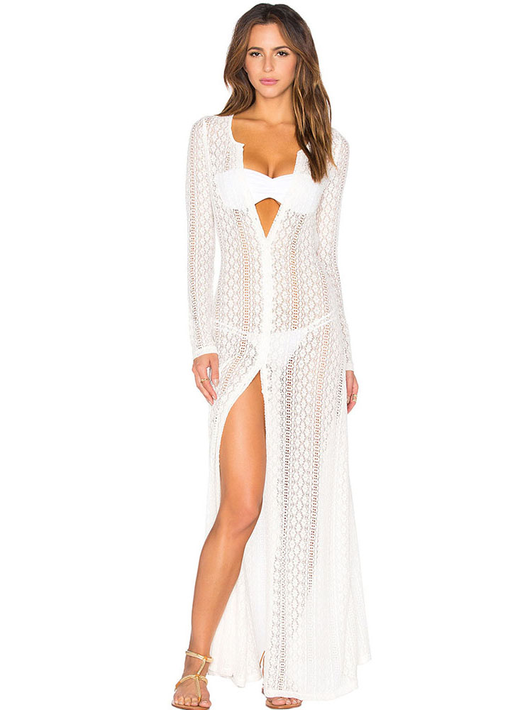 2fdd28ab51 Button-up Front Long Sleeved Boho Breeze Crochet Lace Maxi Length Beachwear