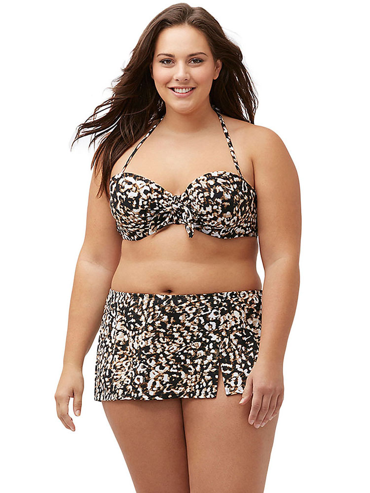 Leopard Printing Halter Bandeau Underwired & Padded Bikini Top with Skirt