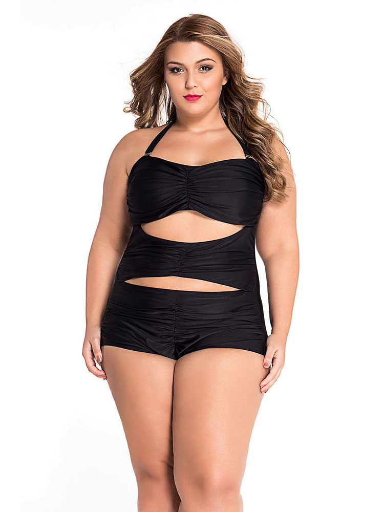Sweetheart Neckline Cutout Ruched Halter Padded Plus Size One Piece Swimsuit