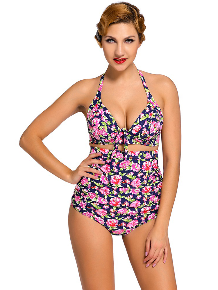 Vintage Printing Halter Style Padded & High Waisted Bikini Set with Ruched