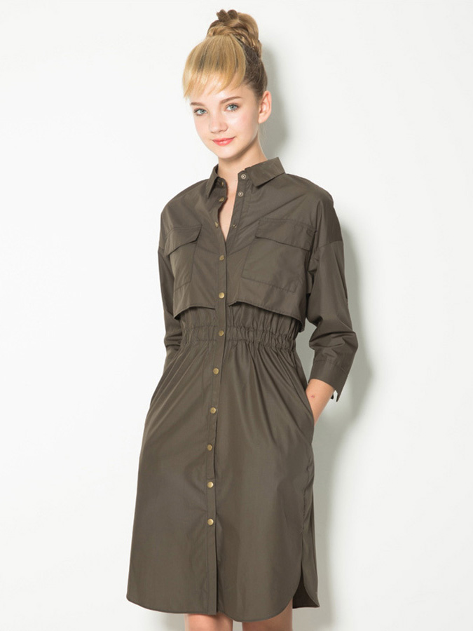 Layered 3/4 Sleeves High-waisted Single Breasted Knee Length Trench Coat