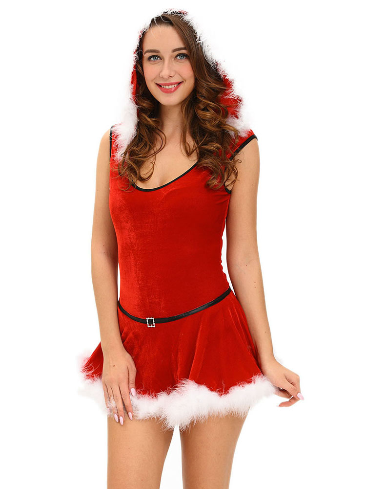 2 Pieces Velvet Sleeveless Hooded Jumpsuit Skirt Christmas Costume Set
