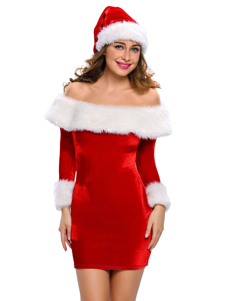 Two Pieces Long Sleeves Off-the-shoulder Santa Costume Dress and Hat Set