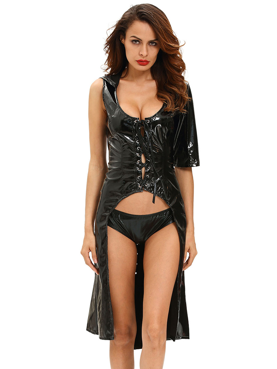 2 Pieces Sexy Cutout Wetlooks Hooded Gothic Punk Costumes for Women