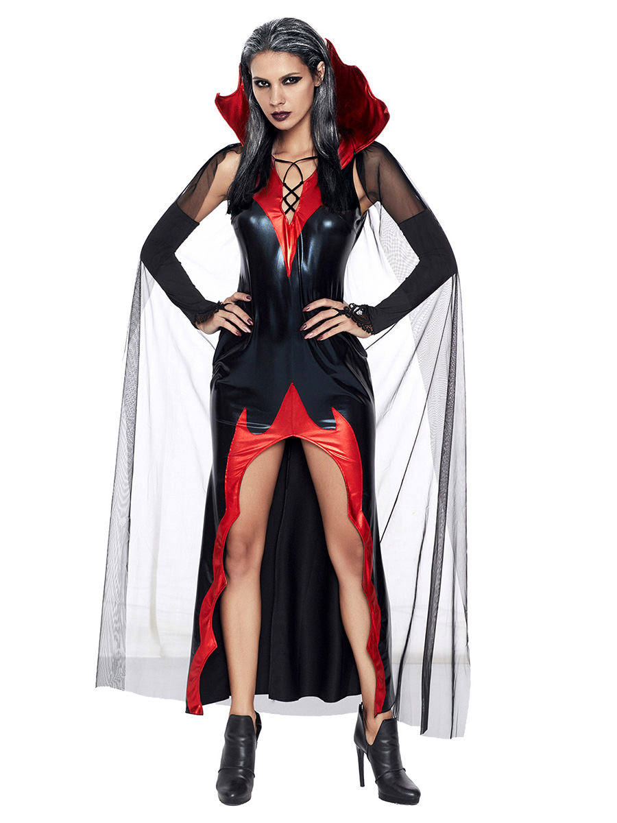 2 Pieces Sleeveless Fitting Floor Length Halloween Vampire Costumes Dress