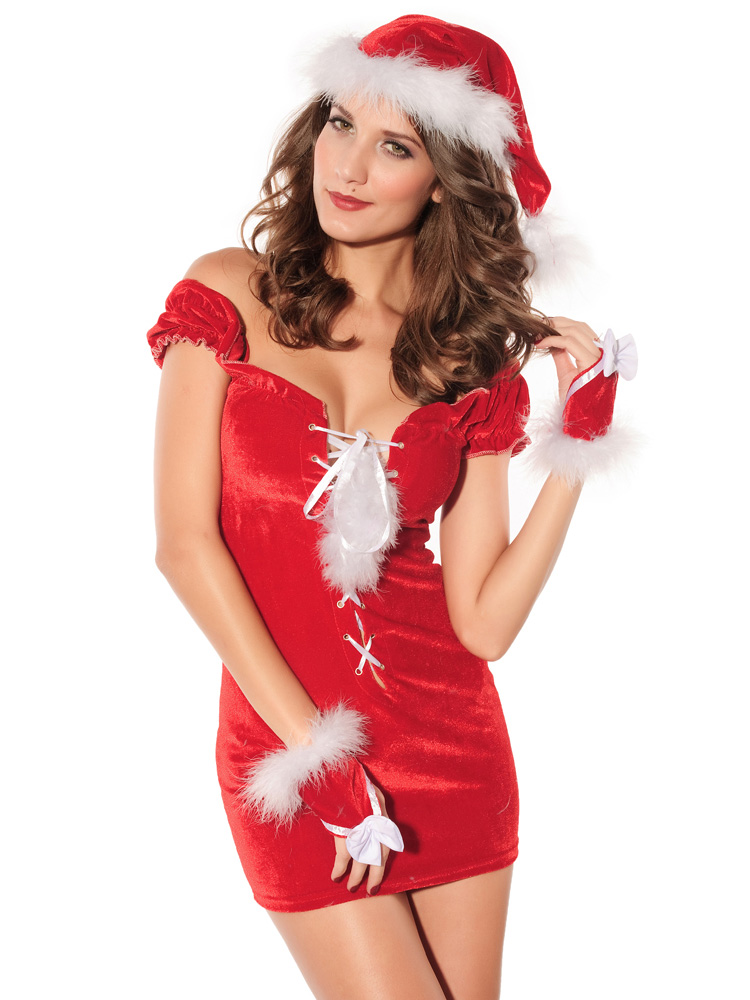 3 Pieces Off the Shoulder Short Draped Sleeves Christmas Costume Dress