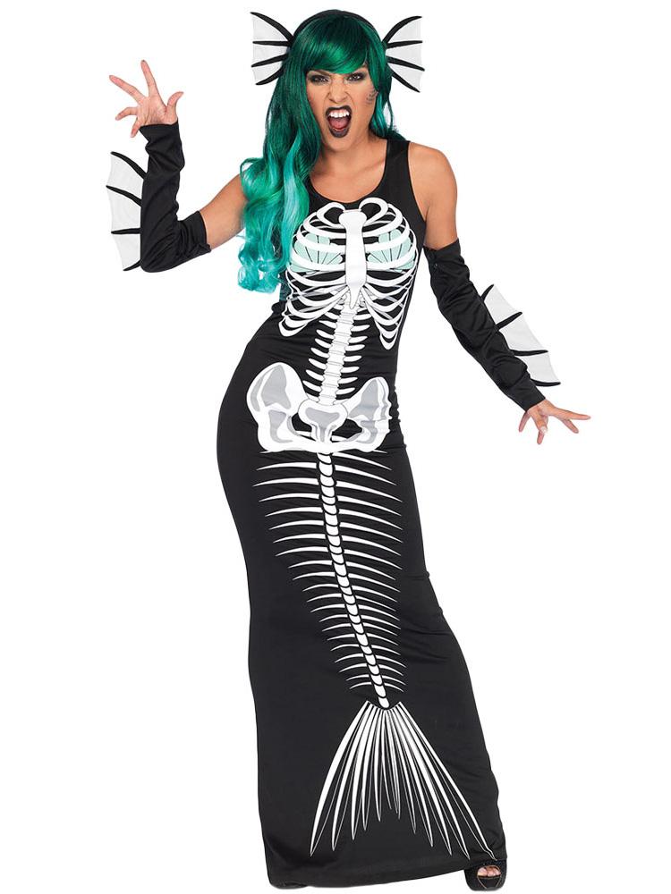 3 Pieces Sleeveless Skeleton Printing Womens Halloween Siren Costumes