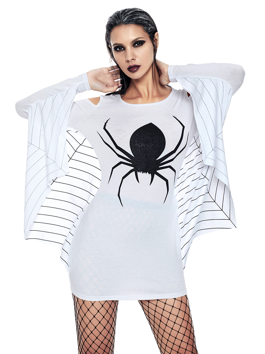Plus Size Cold Shoulder Webbed Arms Knit Sweatshirt Costumes with Spider and Spiderweb Printing