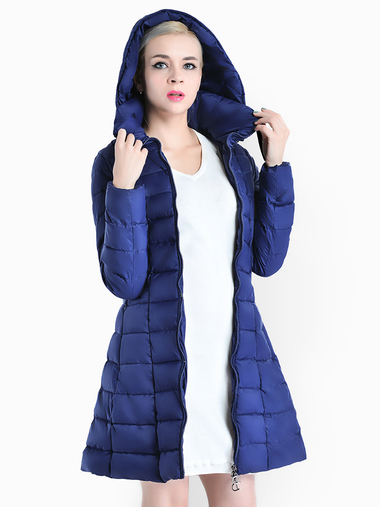 A-line Two-way Zipper Detachable Hooded Padded Parka Jacket for Women