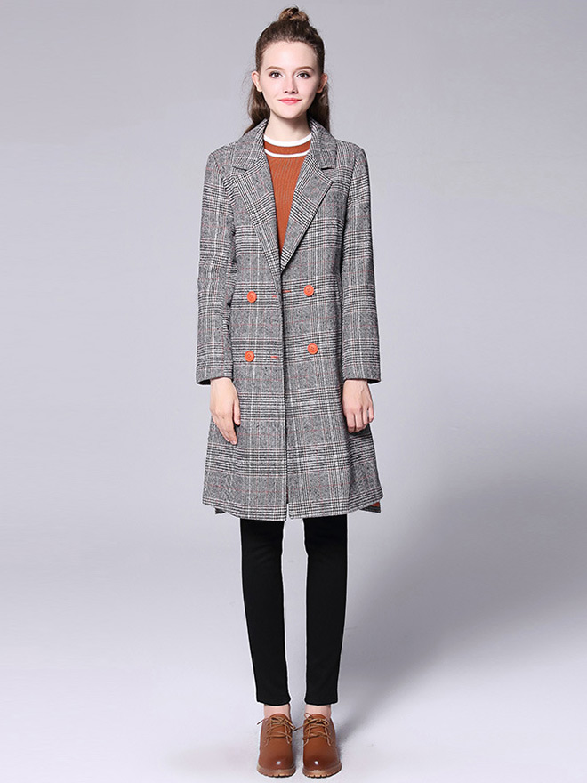 Double-breasted Asymmetric Front & Back Plaid Long Wool Peacoat for Women