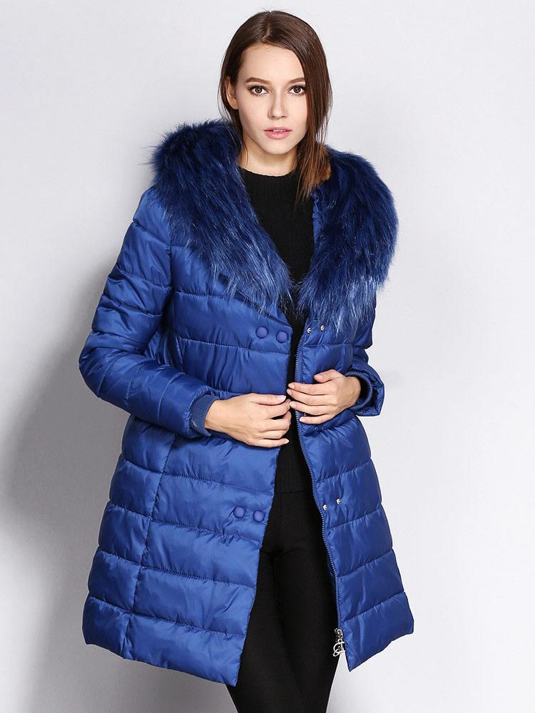 Double Zipper & Press Studs Faux Fur Collar Padded Womens Parka Jacket