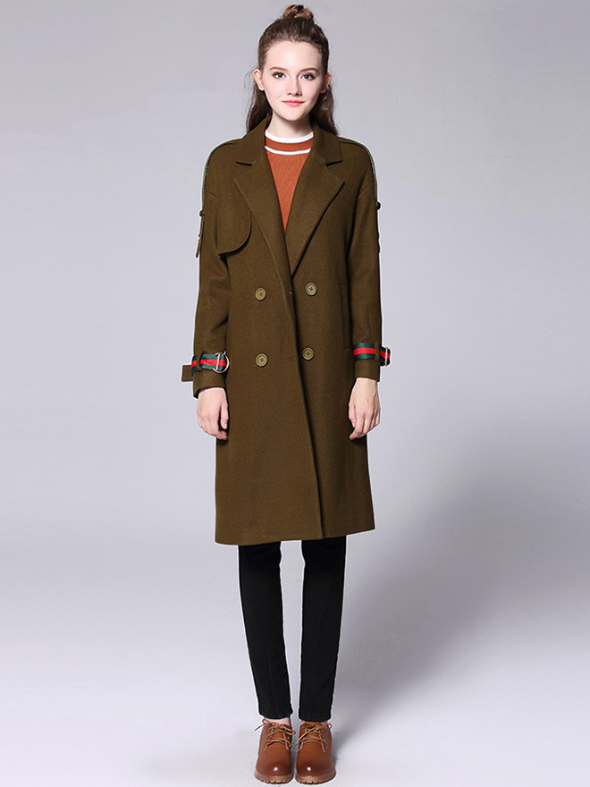 Loose Fit Layered Double Breasted Long Sleeves Women Long Wool Peacoat
