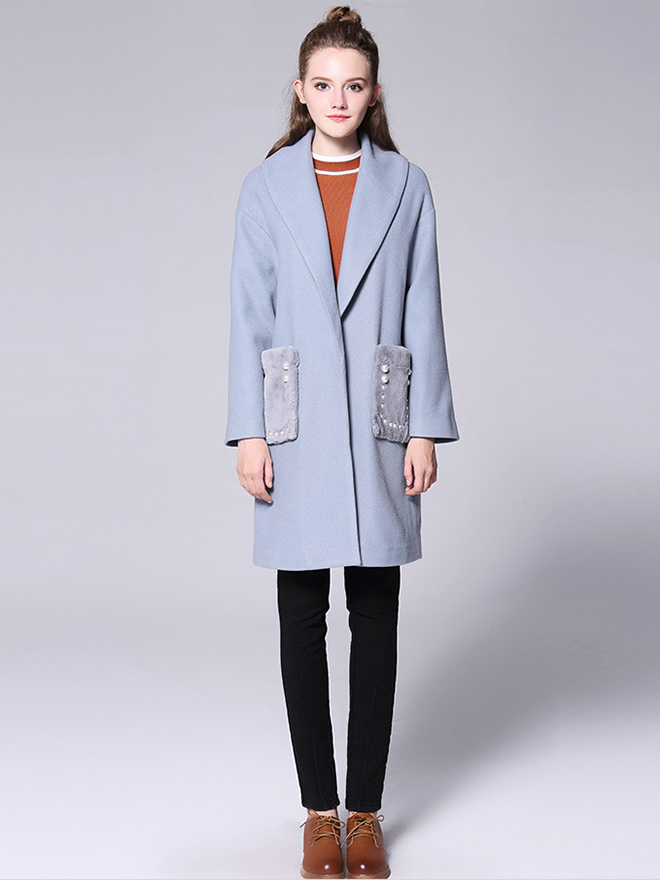 Press Studs Long Sleeves Big Lapel Thick Long Quilted Wool Coat Womens