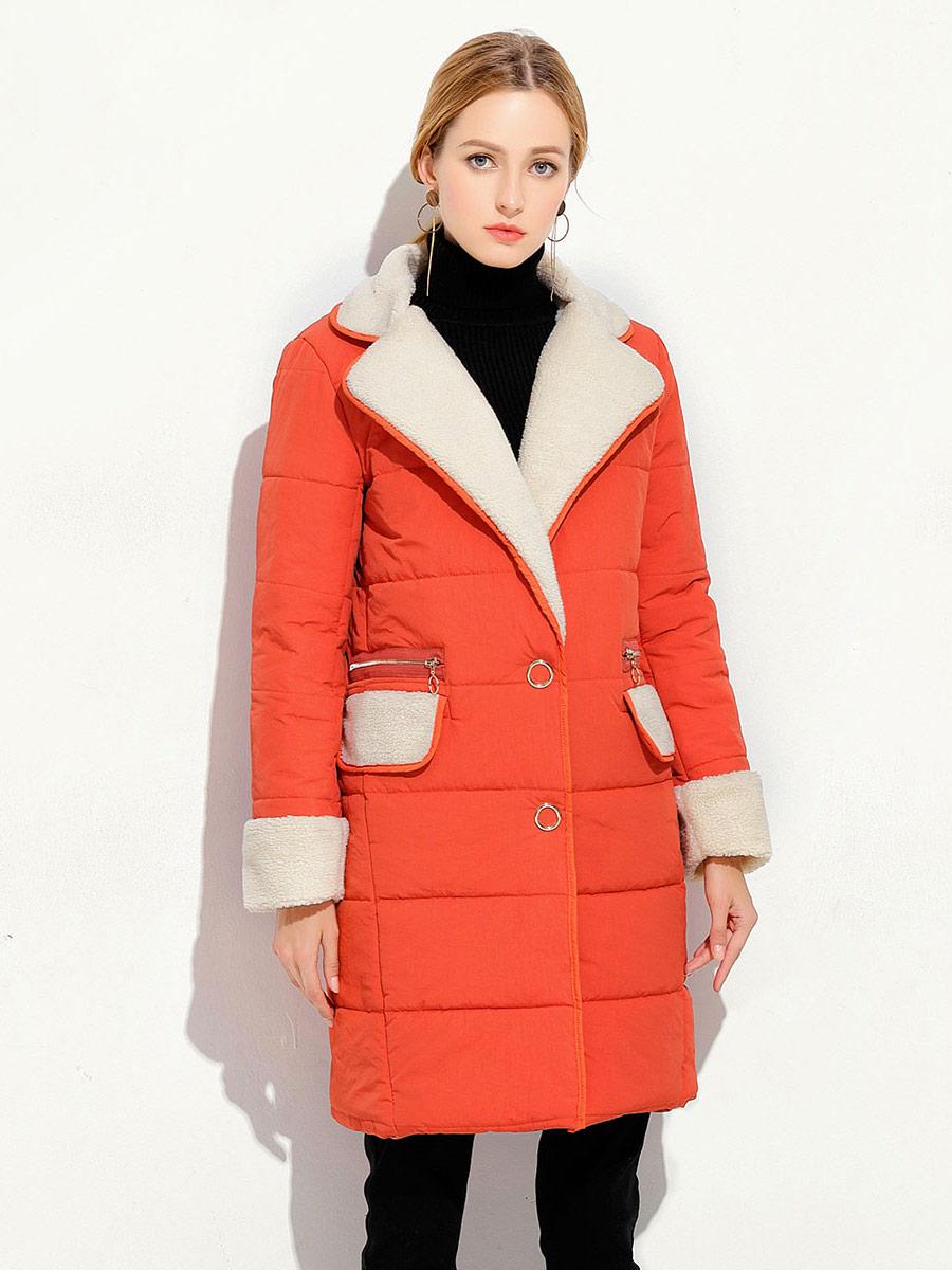 Press Studs Single Breasted Lamb Wool Splicing Thick Women Parka Coat