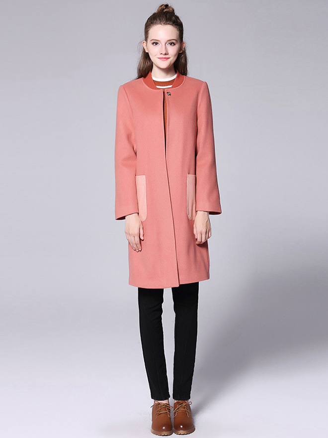 Single Press Studs Long Sleeves Quilted Thick Long Winter Wool Coat Womens