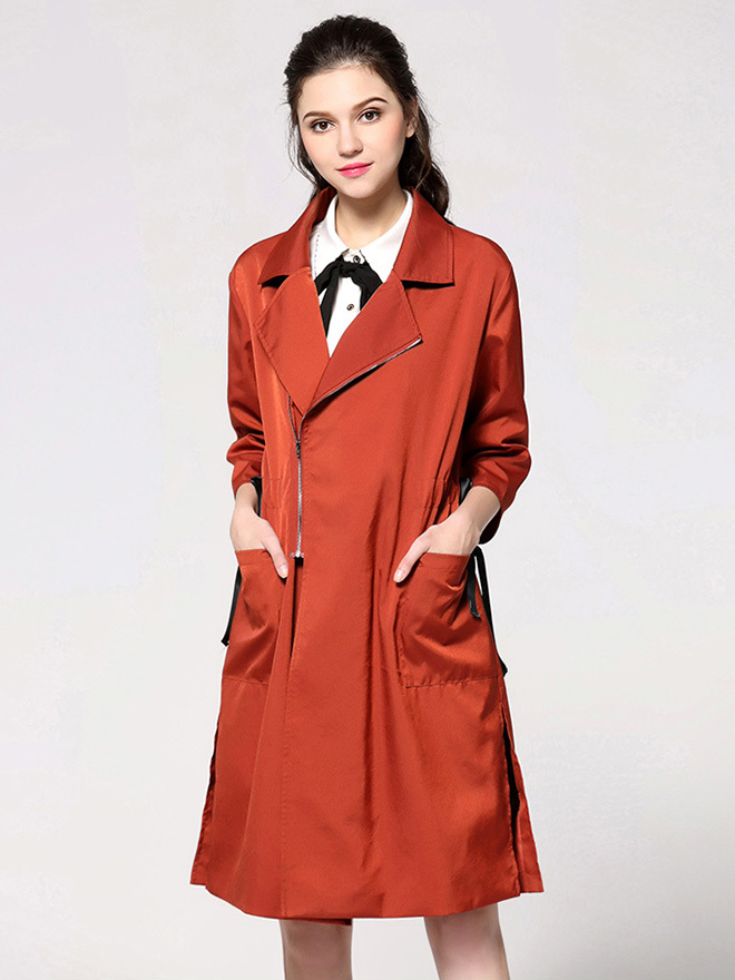 Spring Three-quarter Sleeves Zipper Closure Long Womens Trench Coat