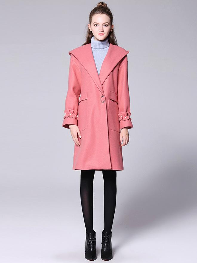 Stylish Single Press Studs Long Sleeves Hooded Long Wool Coat Womens
