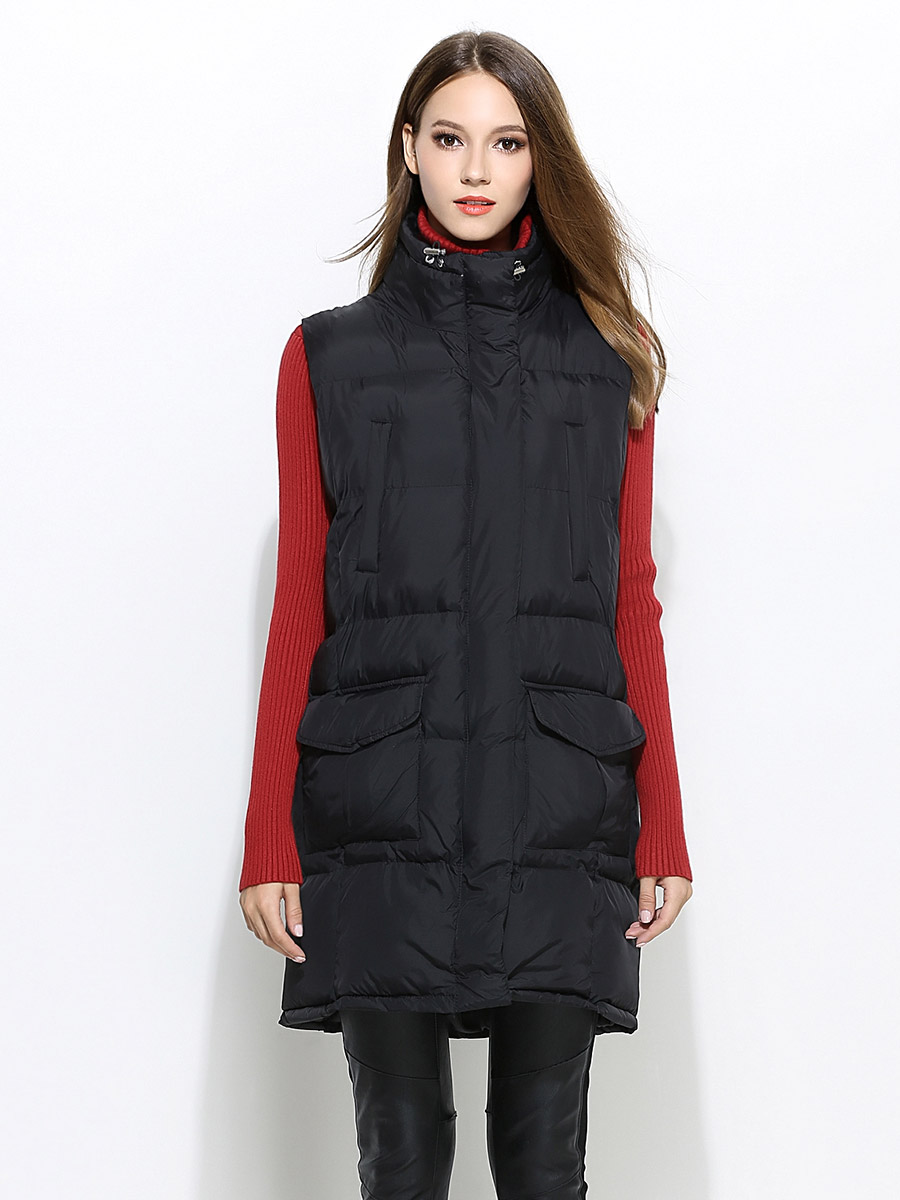 Zipper & Press Studs Closure Loose-fit Thick Women Puffer Waistcoat