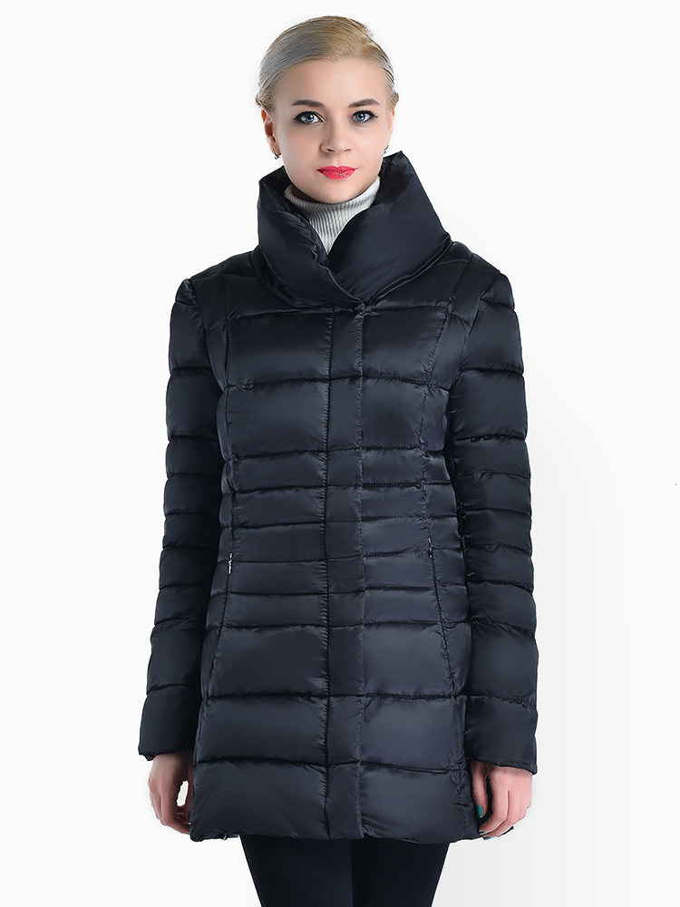 Zipper & Press Studs Closure Stand Collar Padded Puffer Parka Jacket