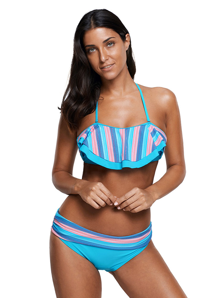 Blue Pink Striped Halter Neckline Ruffles Trim Low-waisted Padded Womens Bikini